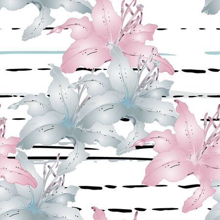 Artistic Floral Seamless Pattern. Colorful Botanical Vector Motif. Blooming Texture For Fashion Prints. Outline Lily Flowers Surface. Art Stripes Ornament. Elegant Sketches Drawing Illustrated.