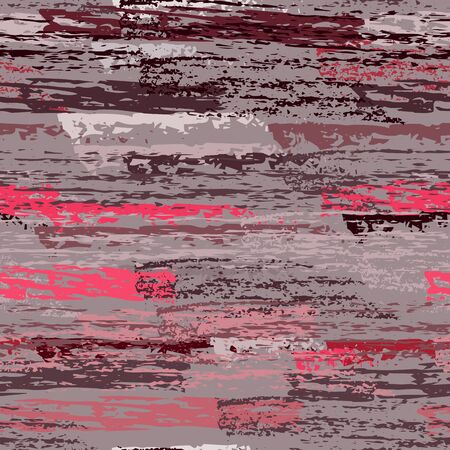Grunge Dry Paint Surface. Stripy Crayon Pencil Strokes. Seamless Pattern. Sport Chalk Trends Motif. Maroon and Burgundy Backdrop. Swipe Charcoal Texture Surface. Dirty Brush Vector Background. 矢量图片