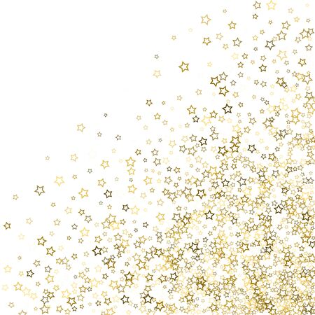 Gold Glitter Stars. Luxury Shiny Confetti. Scattered little sparkle. Flash glow silver, elements. Random magic tiny light. Gold stellar fall white background. New Year, Christmas Vector illustration. Ilustracja