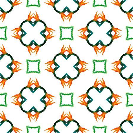Chevron Geometric Hand Drawn Painted.  Bohemian, Hippie, Boho, Gypsy Seamless Pattern.  Traditional Surface. Ethnic Old Home Decor. Green, Orange Art. Natural Motif.