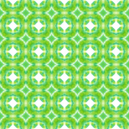 Traditional Surface. Endless Repeat Painting.  Orient, Spanish, Talavera, Tunisian Ornament. Geo Texture. Vintage Ethnic Cloth. Green, Mint,  Motif. Geometry Mosaic.