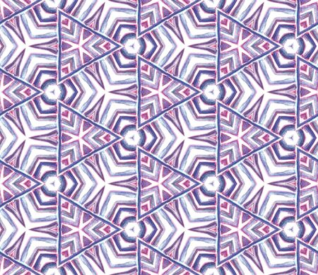 Tribal Art. Endless Repeat Painting.  Arab, Arabesque, East, Eastern Ornament. Geo Texture. Traditional Folklore Woven. Purple, Pink Mosaic. Medallion Design.