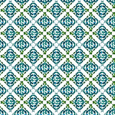 Geo Geometric, Endless Repeat Painting.  Northern, Russian, Celtic , Polish Ornament. Ethnic Texture. Summer Woven. Blue, Green Art. Geometric Texture.