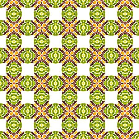 Ethnic Surface. Hand Drawn Painted. Russian, Celtic , Polish, Balto-Slavic Seamless Pattern. Geo Surface. Ethnic Home Decor. Green, Orange Surface. Ornamental Pattern.