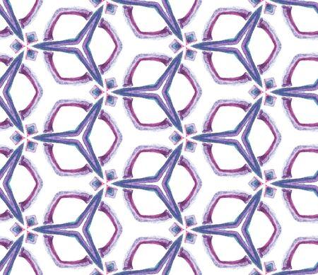 Watercolor Surface. Endless Repeat Painting.  Ottoman, Islam, Orient, Spanish  Ornament. Watercolor Surface. Ancient Vintage Textile. Purple, Pink Motif. Woven Texture. Reklamní fotografie