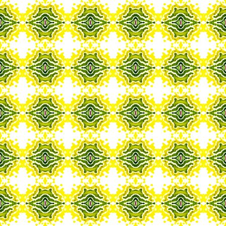 Geo Geometric, Endless Repeat Painting.  Gypsy, Mediterranean, South, East Ornament. Watercolor Surface. Geo Folklore Fabric. Yellow, Green Watercolor. Natural Pattern.