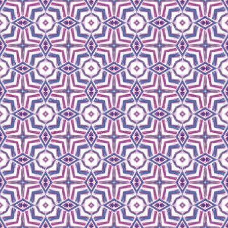 Traditional Surface. Endless Repeat Painting.  Azulejo, Portuguese, Spain, Islam, Arabic Ornament. Traditional Graphic. Geo Rug. Purple, Pink Watercolor. Stripes Mosaic. Reklamní fotografie