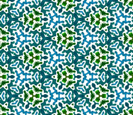 Watercolor Surface. Endless Repeat Painting.  Ottoman, Islam, Orient, Spanish  Ornament. Traditional Graphic. Summer Old Fabric. Blue, Green  Motif. Herringbone Ornament.