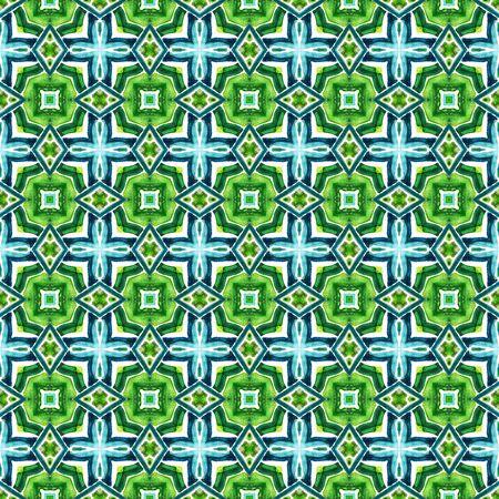 Geo Texture. Hand Drawn Painted. Talavera, Azulejos, Spain, Islam, Arabic Seamless Pattern. Chevron Geometric. Ancient Fabric. Blue, Green  Element. Natural Pattern.