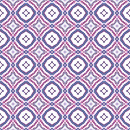 Ethnic Surface. Hand Drawn Painted. Azulejo, Portuguese, Spain, Islam, Arabic  Seamless Pattern. Watercolor Surface. Vintage Fabric. Purple, Pink Ornament. Herringbone Pattern. Reklamní fotografie