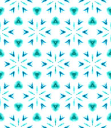 Tribal Art. Endless Repeat Painting.  Pagan, Northern, Russian, Celtic Ornament. Chevron Geometric. Tribal Textile. Blue, Cyan, Texture. Medallion Texture. Reklamní fotografie