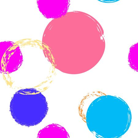 Black Brush Circle. Vector Seamless Pattern. Color Design. White Abstract Background With Watercolor Fall Chaotic Shapes. Summer Pastel Fabric. Chalk Brush Rounds, Confetti. Ilustrace