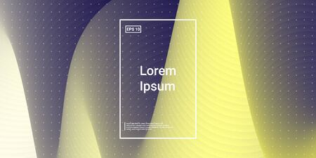 Wavy Geometric Shape. Technology Vector Fluid Layout. Vivid Trend Image. Blue, Teal, Purple Futuristic Background. Modern Horizontal Composition. Abstract  Dynamic Illustration.