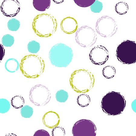 Cute Polka Dots. Vector Endless Repeat Print. Vivid Decor. White Abstract Background With Watercolor Fall Chaotic Shapes. Modern Pastel Textile. Chalk Brush Rounds, Confetti.