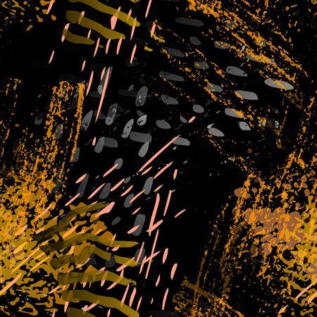 Spray Seamless Pattern. Fashion Concept. Distress Print. Black, Gold Illustration. Urban Surface Textile. Ink Stains. Spray Paint. Splash Blots. Artistic Creative Vector Background.