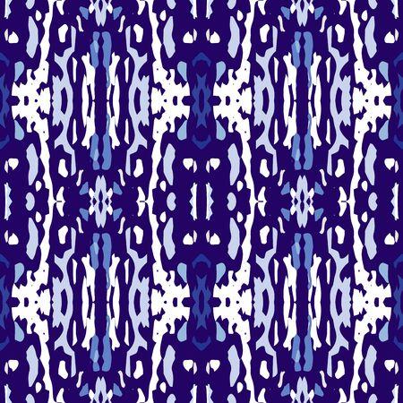 Tie Dye, Batik. Hand Drawn, Paint Texture Ornament. Traditional Surface. Endless Repeat Painting.  Blue Cyan Traditional Modern Summer Wallpaper  Geometric Staining Shibori Art.