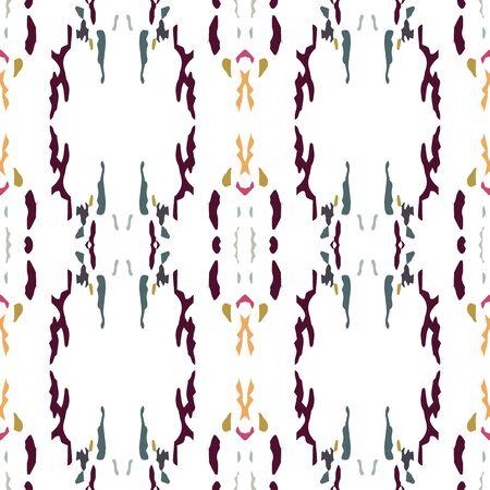 Spots, Ikat. Tie Dye, Batik. Ornament. Watercolor Surface. Endless Repeat Painting.  Brown Ochre Tribal Folk Vintage Canvas.  Graphic Medallion Shibori Print. 矢量图像