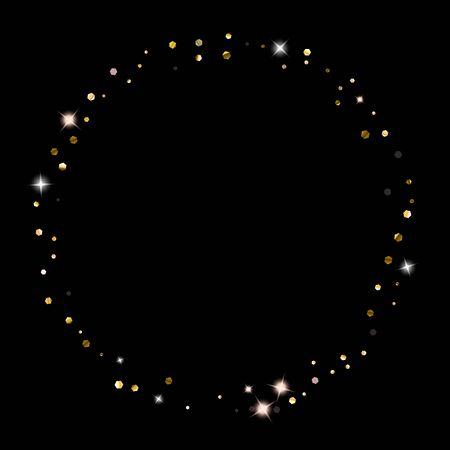 Gold Glitter Stars. Luxury Shiny Confetti. Scattered little sparkle. Flash glow silver element. Random magic tiny light. Hexagon stellar fall black background. New Year, Christmas Vector illustration. Foto de archivo - 140887726