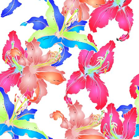 Artistic Floral Seamless Pattern. Colorful Botanical Vector Motif. Blooming Texture For Fashion Prints. Outline Lily Flowers Surface. Summer Motif. Elegant Sketches Drawing Illustrated.