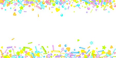 Sprinkles grainy. Cupcake donuts, dessert, sugar, bakery background. Sweet confetti on white chocolate glaze background. Vector Illustration sprinkles holiday designs, party, birthday, invitation. Vektoros illusztráció