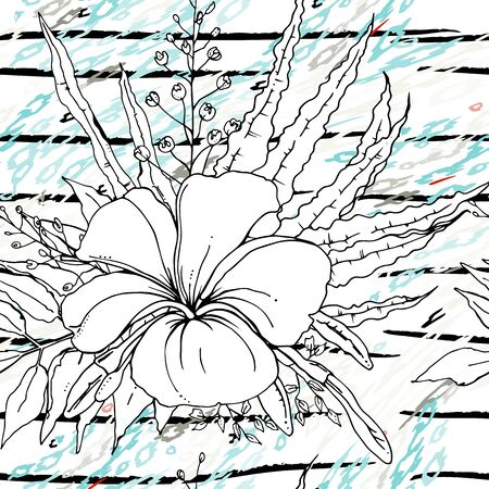 Modern Stripes Jungle Motif. Black White Tropical flowers, Leaf on Bright Abstract Shape Brush Line. Summer Stripe. Trending Seamless Pattern. Vector Background. Modern Watercolor Daubs, Ink, Stains.