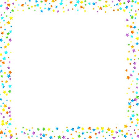 Rainbow Festive Confetti. Carnival Template. Colorful Star Falling. Beautiful Holidays Party. Little Tiny Multicolor Sprockets on White Background. Bright Vector Illustration. Ilustración de vector