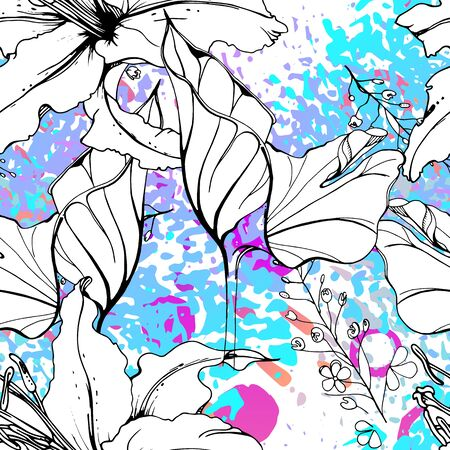 Artistic Floral Seamless Pattern. Outline Flowers Surface. Botanical Vector Motif. Blooming on Watercolor Texture For Fashion. Drawing Abstract Leaf. Trends Tropic Background. Black and White Print.