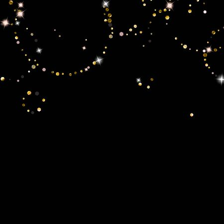 Gold Glitter Stars. Luxury Shiny Confetti. Scattered little sparkle. Flash glow silver element. Random magic tiny light. Hexagon stellar fall black background. New Year, Christmas Vector illustration.  イラスト・ベクター素材