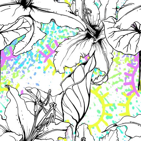 Artistic Floral Seamless Pattern. Outline Flowers Surface. Botanical Vector Motif. Blooming on Watercolor Texture For Fashion. Drawing Abstract Leaf. Trends Tropic Background. Black and White Print. Illustration