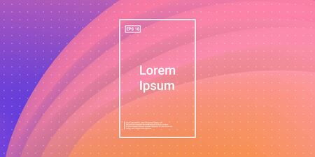 Wavy Geometric Shape. Technology Vector Fluid Layout. Bright Glow Concept. Orange, Pink Futuristic Background. Modern Horizontal Composition. Abstract  Dynamic Illustration. 矢量图像