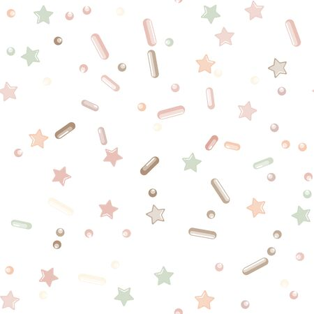 Sprinkle confetti. Sprinkles Grainy. Seamless Pattern. Sweet Confetti Background.  Sprinkle confetti. Design Invitation Holiday, Party, Birthday. Cute Topping Pattern.