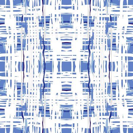 Spots, Ikat. Tie Dye, Batik. Seamless Pattern. Geometric Surface. Hand Drawn Painted. Blue Cyan Native Old Ancient Embroidery. Medallion Graphic Tie dye Ornament. Ilustracje wektorowe