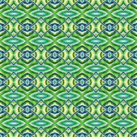 Traditional Surface. Endless Repeat Painting.  Azulejo, Portuguese, Spain, Islam, Arabic Ornament. Traditional Surface. Tribal Carpet. Blue, Green  Surface. Geometric Motif.