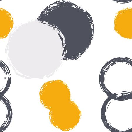 Black Brush Circle. Vector Seamless Pattern. Bright Decor. White Abstract Background With Watercolor Fall Chaotic Shapes. Grunge Retro Surface. Chalk Brush Rounds, Confetti.