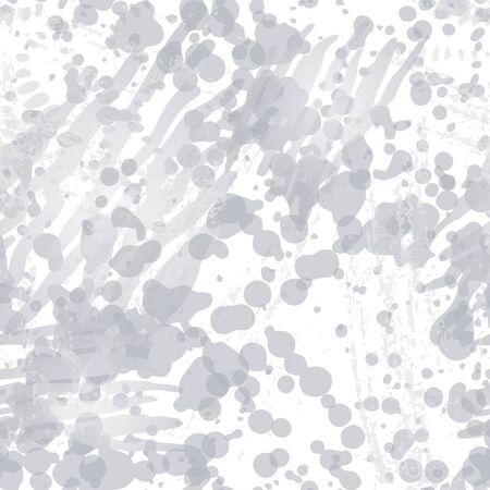 Splash Seamless Pattern. Fashion Concept. Distress Print. Black, White Illustration. Modern Surface Textile. Ink Stains. Spray Paint. Splash Blots. Artistic Creative Vector Background.