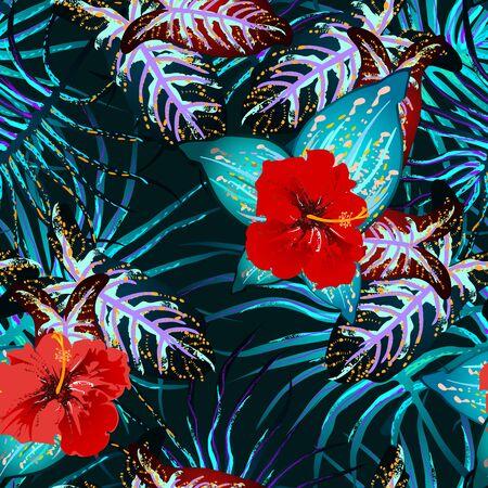 Tropical Leaf. Modern Motif. Jungle Print. Foliage Summer Seamless Pattern. Vettoriali