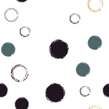Cute Polka Dots. Vector Endless Repeat Print. Bright Design. White Abstract Background With Watercolor Fall Chaotic Shapes. Modern Pastel Fabric. Chalk Brush Rounds, Confetti.