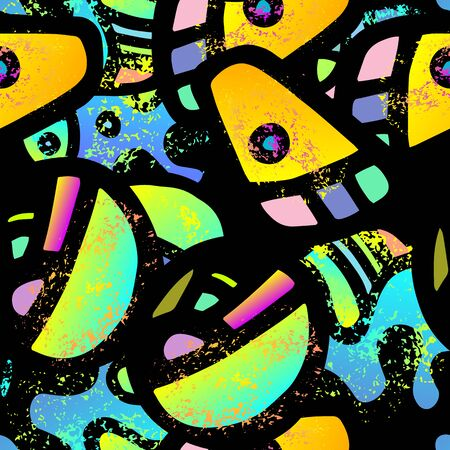 Childish Print. Modern Seamless Pattern.  Grafiti Packaging. Cool Hand Drawn. Linear Collage. Bizarre Street Art. Creative Trendy Style. Abstract Contrast Shape. Doodle Crazy Vector Background. Stock Illustratie