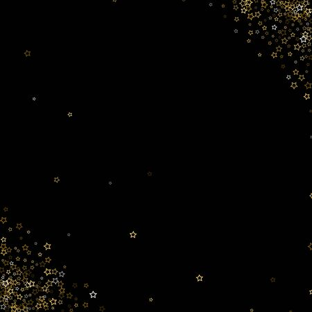 Gold Glitter Stars. Luxury Shiny Confetti. Scattered little sparkle. Flash glow silver, elements. Random magic tiny light. Gold stellar fall black background. New Year, Christmas Vector illustration.