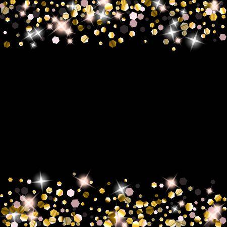 Gold Glitter Stars. Luxury Shiny Confetti. Scattered little sparkle. Flash glow silver element. Random magic tiny light. Hexagon stellar fall black background. New Year, Christmas Vector illustration. Vector Illustration