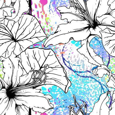 Artistic Floral Seamless Pattern. Outline Flowers Surface. Botanical Vector Motif. Blooming on Watercolor Texture For Fashion. Drawing Abstract Leaf. Trends Tropic Background. Black and White Print. Illusztráció