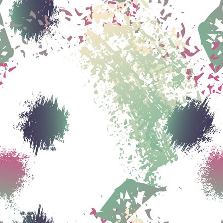 Spray Seamless Pattern. Fashion Concept. Distress Print. Maroon, Gray Illustration. Trending Surface Textile. Ink Stains. Spray Paint. Splash Blots. Artistic Creative Vector Background.