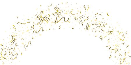 Holiday Serpentine. Gold Foil Streamers Ribbons. Confetti Star Falling on White Background. Party, Birthday Vector Template. Sparkle Serpentine. Celebration Elements. Bright Festive Tinsel Gold Color. Vectores
