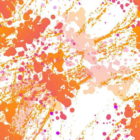 Ink Stains Seamless Pattern. Fashion Concept. Distress Print. Yellow, Orange Illustration. Dirty Surface Textile. Ink Stains. Spray Paint. Splash Blots. Artistic Creative Vector Background.