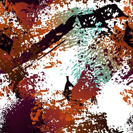 Sports Textile. Fashion Concept. Distress Print. Ochra, Sepia Illustration. Army Surface Textile. Ink Stains. Spray Paint. Splash Blots. Artistic Creative Vector Background.