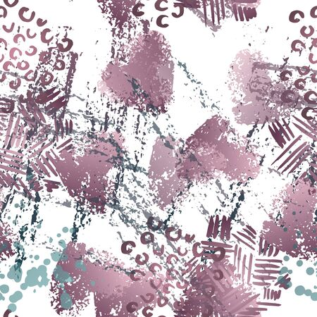 Blots Seamless Pattern. Fashion Concept. Distress Print. Maroon, Gray Illustration. Summer Surface Textile. Ink Stains. Spray Paint. Splash Blots. Artistic Creative Vector Background.