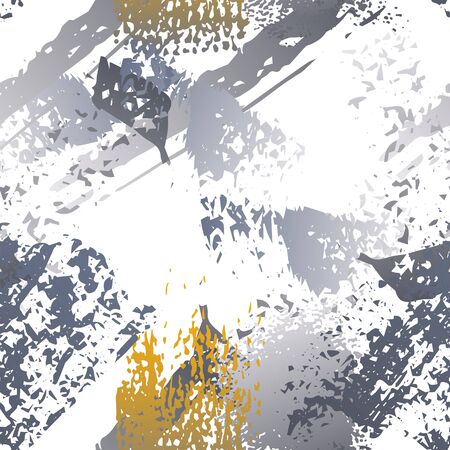 Worn Texture Splatter Surface. Paint Endless Repeating Elements. Artistic Creative Splash Trends Motif. Black and White Watercolor Overlay Surface. Abstract Brush Vector illustration. Vectores