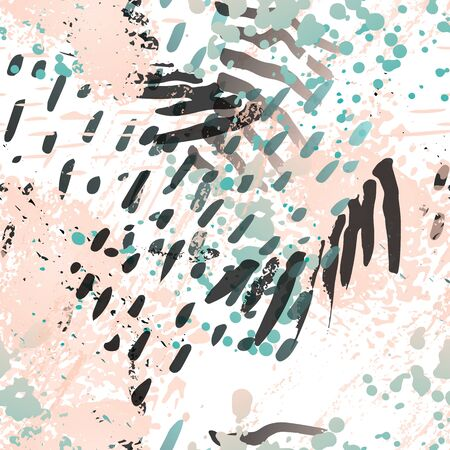 Blots Seamless Pattern. Fashion Concept. Distress Print. Pink, Mint Illustration. Summer Surface Textile. Ink Stains. Spray Paint. Splash Blots. Artistic Creative Vector Background.