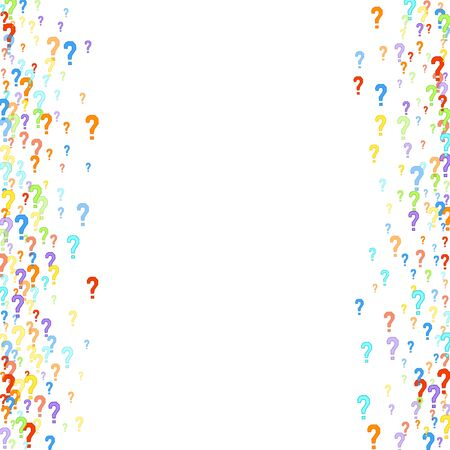 Question marks scattered on white background. Quiz, doubt, poll, survey, faq, interrogation, query background. Multicolored template for opinion poll, public poll. Rainbow color. Vector illustration. Векторная Иллюстрация
