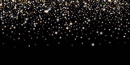 Gold Glitter Stars. Luxury Shiny Confetti. Scattered little sparkle. Flash glow silver element. Random magic tiny light. Hexagon stellar fall black background. New Year, Christmas Vector illustration. Illusztráció